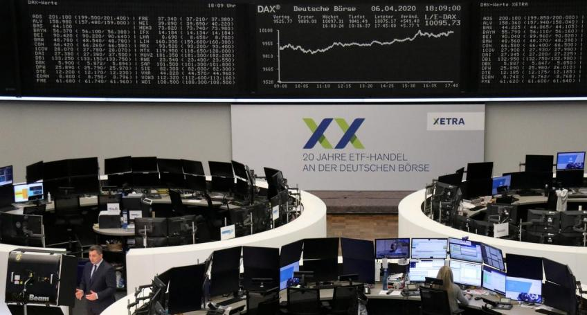 European shares end at one-month peak on hopes pandemic may be easing