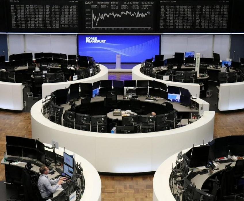 European shares end flat, but score weekly percentage gains